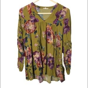 ODDY floral boho style blouse top size small